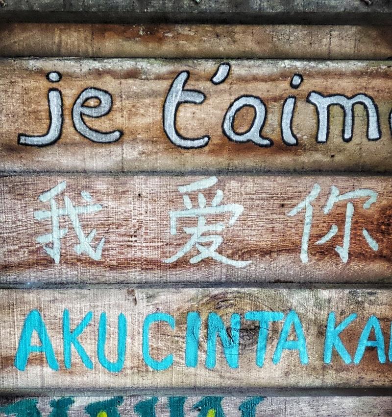 Scritta su legno tradotta in varie lingue